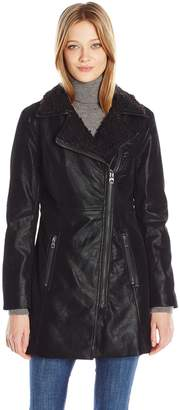 GUESS Women's Faux Suede Zip up Jacket