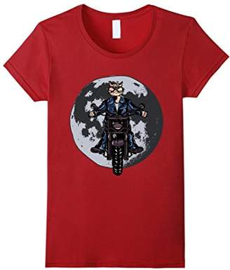Cool cat riding a motorbike shirt: Motorbike cat with moon