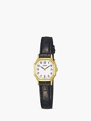Lorus RPG40BX8 Women's Hexagonal Dial Leather Strap Watch, Black/White