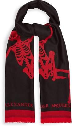 Alexander McQueen Oversized Dancing Skeleton wool scarf