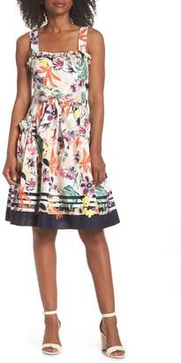 Vince Camuto Print Tie Waist Fit & Flare Sundress