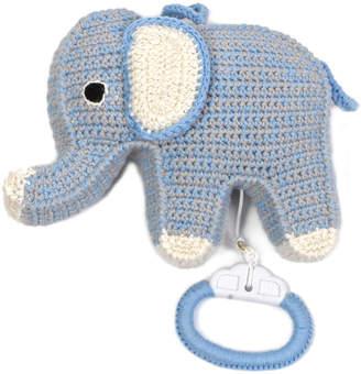 Anne Claire Petit Crochet Elephant Musical Toy - Blue/Grey