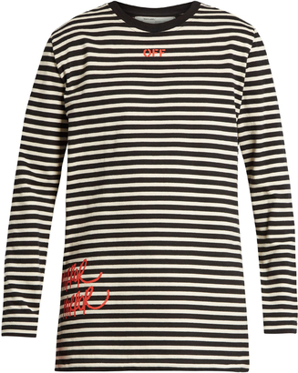 OFF-WHITE Mirror striped long sleeved cotton-jersey T-shirt $247 thestylecure.com