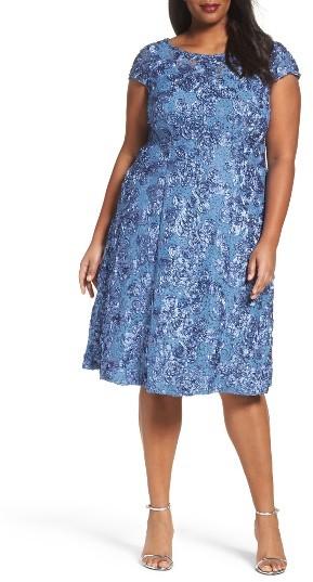 Alex EveningsPlus Size Women's Alex Evenings Rosette Fit & Flare Dress