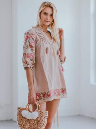 Goodnight Macaroon 'Anika' Pink Floral Embroidery Tassels Boho Mini Dress