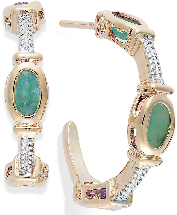 Townsend Victoria Emerald Cable C-Shaped Hoop Earrings in 18k Gold over Sterling Silver (1-3/8 ct. t.w.)