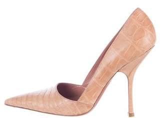 Alaia Crocodile Pointed-Toe Pumps