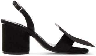Black Suede Les Rond Carré Sandals