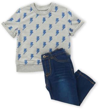Hudson Infant Boys) Two-Piece Short Sleeve Bolt Tee & Jeans Set