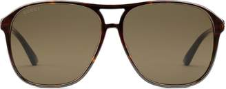Gucci Specialized fit aviator acetate sunglasses