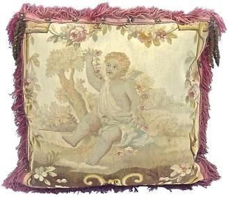 One Kings Lane Vintage Gold Teled Cherub Aubusson Pillow Vermilion Designs