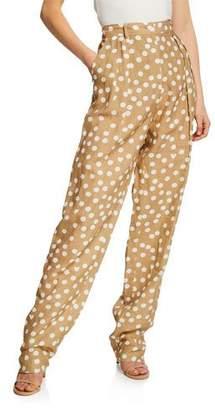 Escada Pleated Polka-Dot Linen Pants