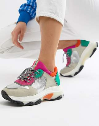 Bronx multi brights metallic suede chunky trainers