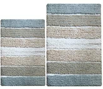 Chardin Home - 100% Pure Cotton - 2 Piece Cordural Stripe Bath Rug Set