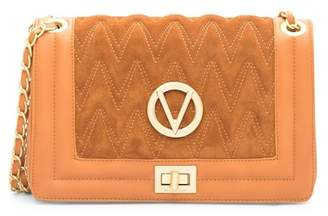Mario Valentino Valentino By Alice Quilted Suede & Leather Shoulder Bag