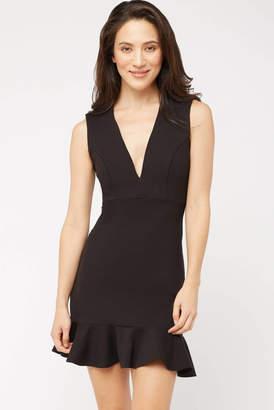 Susana Monaco Plunge Ruffle Hem Mini Dress Black 2