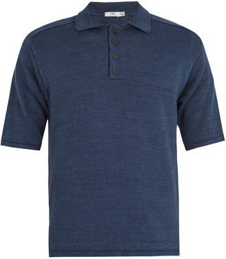 INIS MEÁIN Point-collar linen polo shirt