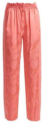 Peter Pilotto High-rise floral-jacquard satin trousers