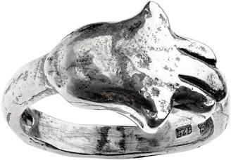 Or Paz Sterling Hammered Horizontal Hamsa Ring