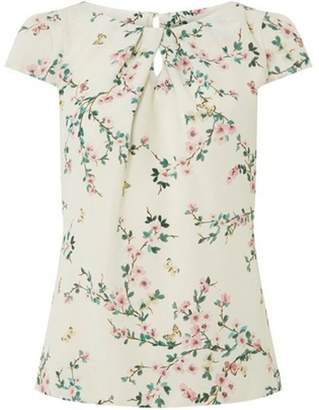 Dorothy Perkins Womens **Billie & Blossom Ivory Crepe Printed Shell Top