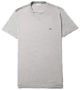 Lacoste Men's V-neck Striped Cotton Jersey T-shirt