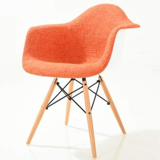 Poly and Bark Vortex Padded Arm Chair with Natural Base in Orange