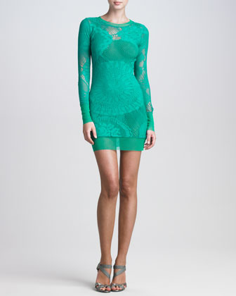 Jean Paul Gaultier Lace-Mesh Long-Sleeve Dress