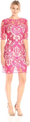 Jax Women's Elbow Sleeve Placement Lace SEHAT Nude Linning, Magenta