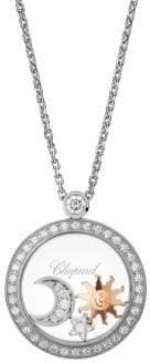 Chopard Happy Diamonds 18K White Gold, Rose Gold& Diamond Charm Pendant Necklace