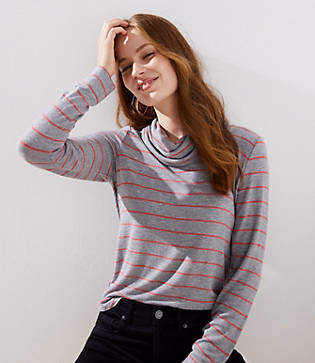 LOFT Striped Cowl Neck Tunic