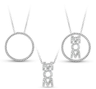 FINE JEWELRY Sterling Silver 3-in-1 Cubic Zirconia Circle Mom Necklace
