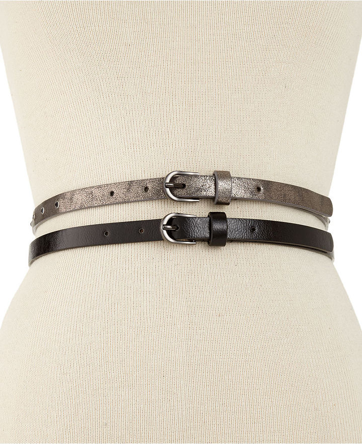 Steve Madden 2 for 1 Metallic Belt with Stones Belt