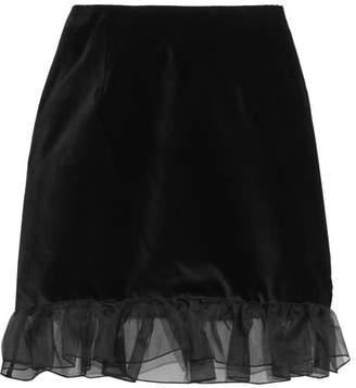 Alexa Chung Woman Ruffled Organza-trimmed Cotton-velvet Mini Skirt Black Size 16 AlexaChung kpYW8Q7Dn