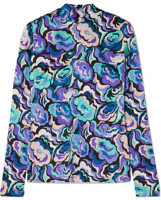 Emilio Pucci Printed Silk-blend Satin Blouse - Turquoise