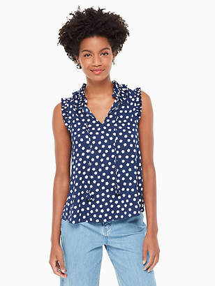 Kate Spade Cloud dot tie front shell