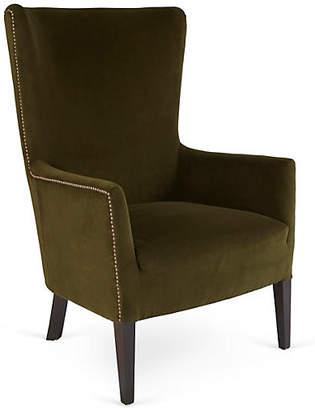 Massoud Furniture Ethan Wingback Chair - Forest Velvet