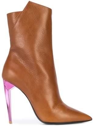 Saint Laurent contrast heel pointed boots