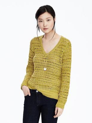 Open-Stitch Vee Sweater $98 thestylecure.com