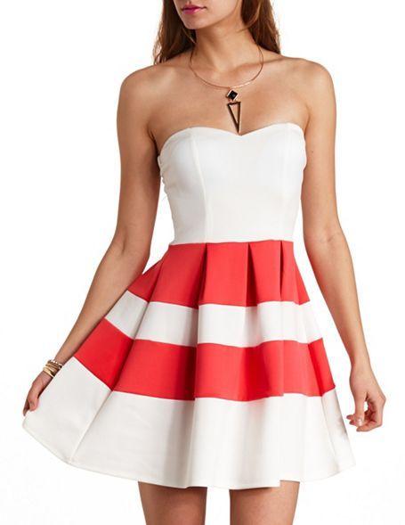 Charlotte Russe Striped Sweetheart Strapless Skater Dress