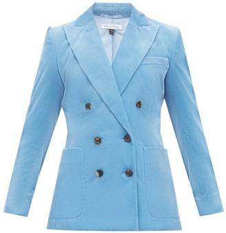 Bella Freud Bianca Double Breasted Cotton Corduroy Blazer - Womens - Blue
