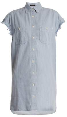 R 13 Oversized Cotton Chambray Shirt - Womens - Light Blue