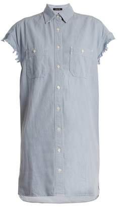 R13 - Oversized Cotton Chambray Shirt - Womens - Light Blue