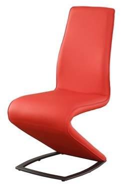 Acme Hassel Side Chair, Set of 2 in Red Leatherette and Gunmetal