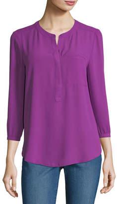 NYDJ 3/4-Sleeve Pleated-Back Blouse