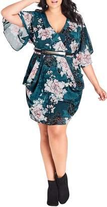 City Chic Jade Blossom Drape Side Dress