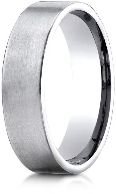 Benchmark Platinum 6mm Comfort-Fit Satin-Finished Carved Design Wedding Band