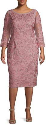 JS Collections Plus Three-Quarter Sleeve Embroidery Sheath Dress