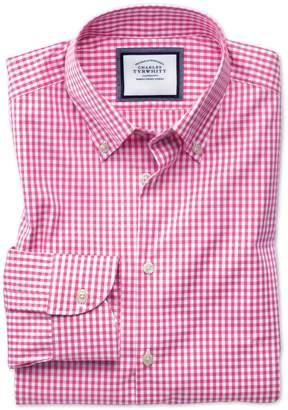 Charles Tyrwhitt Slim Fit Button-Down Business Casual Non-Iron Pink Cotton Dress Shirt Single Cuff Size 15/34