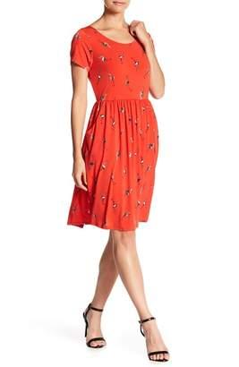 WEST KEI Flamingo Crew Neck Short Sleeve Pocket Dress