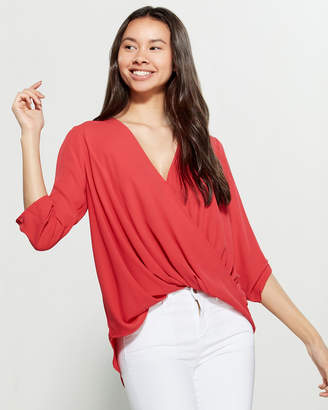 Lush Draped Crossover Blouse
